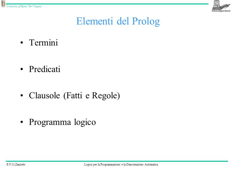 © F.M.ZanzottoLogica per la Programmazione e la Dimostrazione Automatica University of Rome Tor Vergata Atomi: nomi che iniziano con lettera MINUSCOLA, sequenze di caratteri tra, numeri preceduti da caratteri –andrea –Corso di Prolog –c1p8 Numeri –12345 Variabili: nomi che iniziano con lettera MAIUSCOLA o con _ –Tizio –_andrea –_ Termini composti –somma(1, 2, X) –1+2 Termini