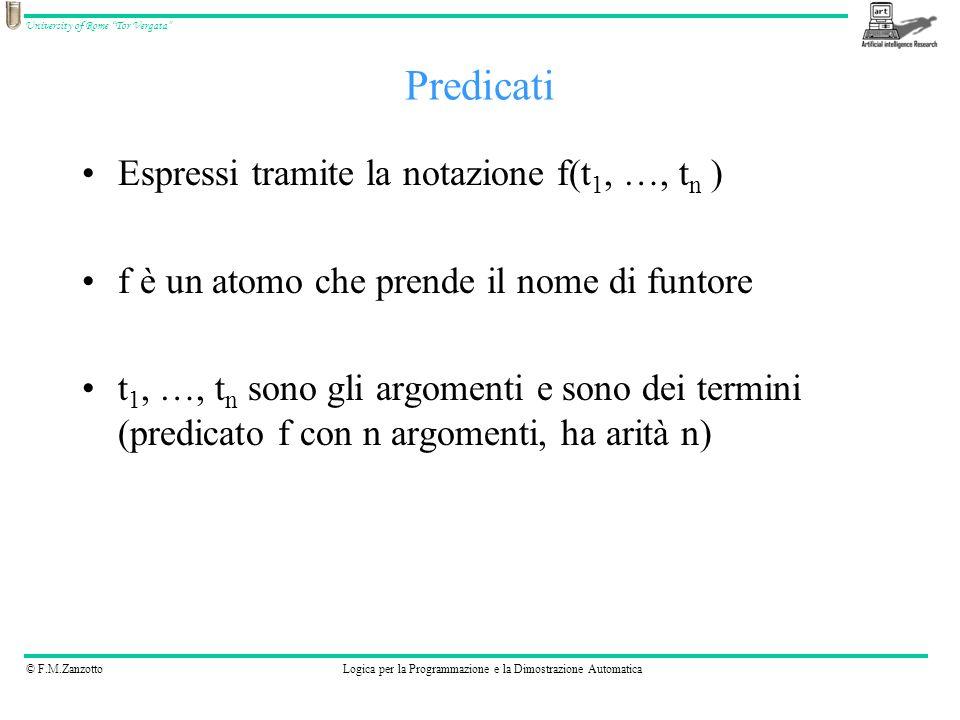 © F.M.ZanzottoLogica per la Programmazione e la Dimostrazione Automatica University of Rome Tor Vergata Le clausole: fatti e regole I fatti sono regole senza corpo Fatti: parent(ben, jim).
