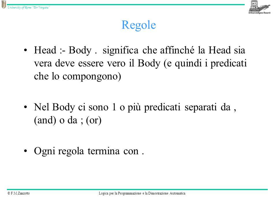 © F.M.ZanzottoLogica per la Programmazione e la Dimostrazione Automatica University of Rome Tor Vergata Un fatto è un predicato seguito da.