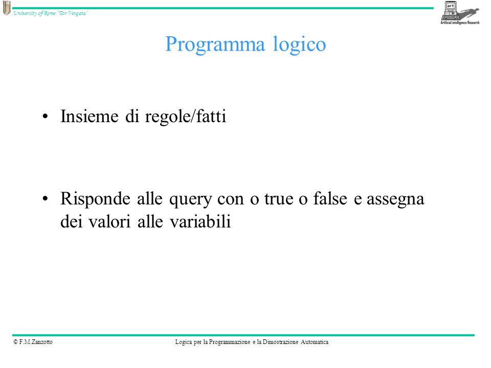 © F.M.ZanzottoLogica per la Programmazione e la Dimostrazione Automatica University of Rome Tor Vergata parent(anne, bill).