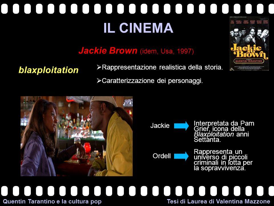>>0 >>1 >> 2 >> 3 >> 4 >> Quentin Tarantino e la cultura pop Tesi di Laurea di Valentina Mazzone IL CINEMA Jackie Brown (idem, Usa, 1997) blaxploitation Rappresentazione realistica della storia.