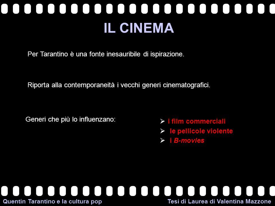 >>0 >>1 >> 2 >> 3 >> 4 >> Quentin Tarantino e la cultura pop Tesi di Laurea di Valentina Mazzone IL CINEMA Per Tarantino è una fonte inesauribile di ispirazione.
