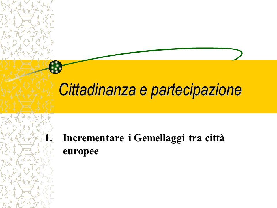 Cittadinanza e partecipazione Cosa sarà possibile finanziare e promuovere, in concreto, col nuovo Programma