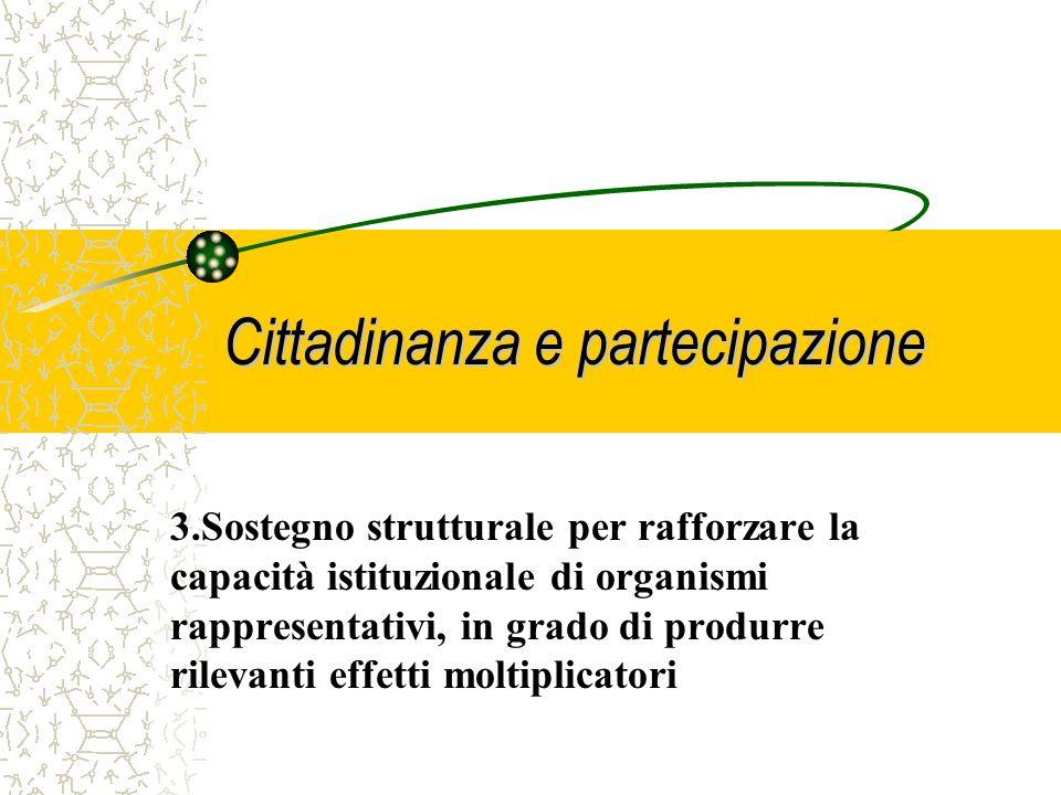 Cittadinanza e partecipazione 2. Finanziamento di Progetti a cui partecipino cittadini per sviluppare e discutere questioni comuni e per definire misu