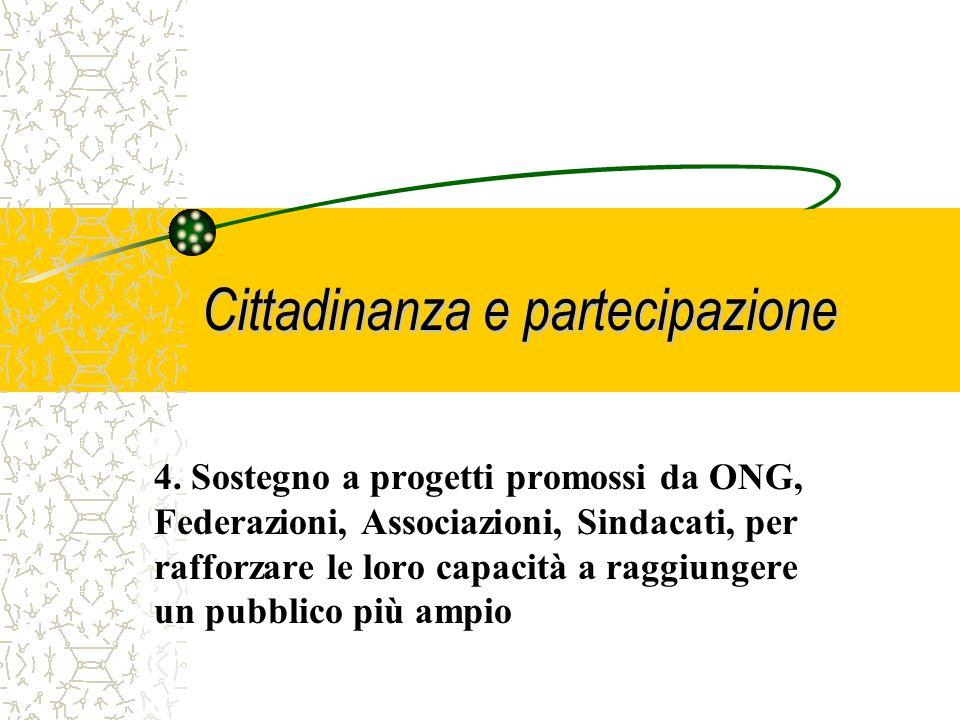 Cittadinanza e partecipazione 3.Sostegno strutturale per rafforzare la capacità istituzionale di organismi rappresentativi, in grado di produrre rilev