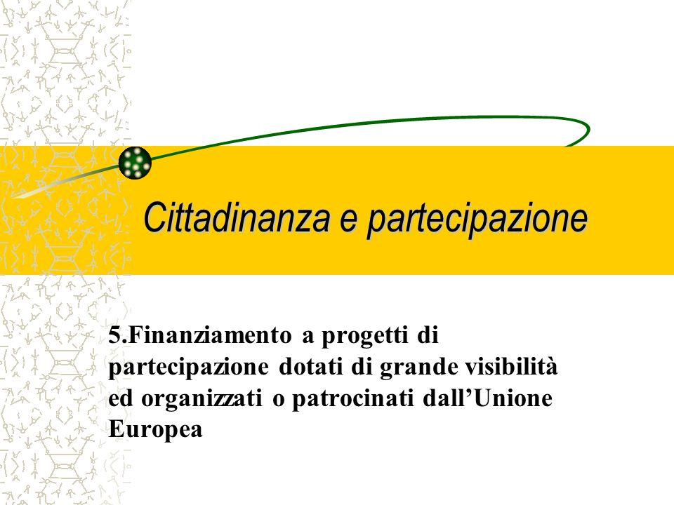 Cittadinanza e partecipazione 4. Sostegno a progetti promossi da ONG, Federazioni, Associazioni, Sindacati, per rafforzare le loro capacità a raggiung
