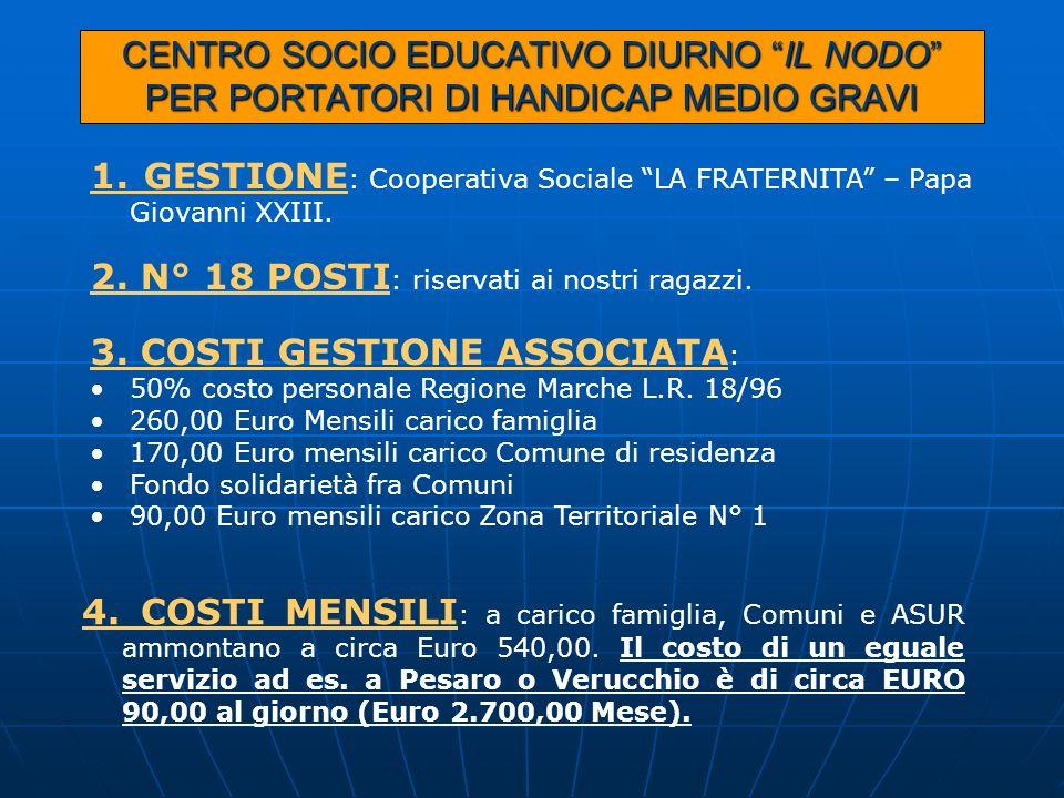 CENTRO SOCIO EDUCATIVO DIURNO IL NODO PER PORTATORI DI HANDICAP MEDIO GRAVI 1. GESTIONE : Cooperativa Sociale LA FRATERNITA – Papa Giovanni XXIII. 2.