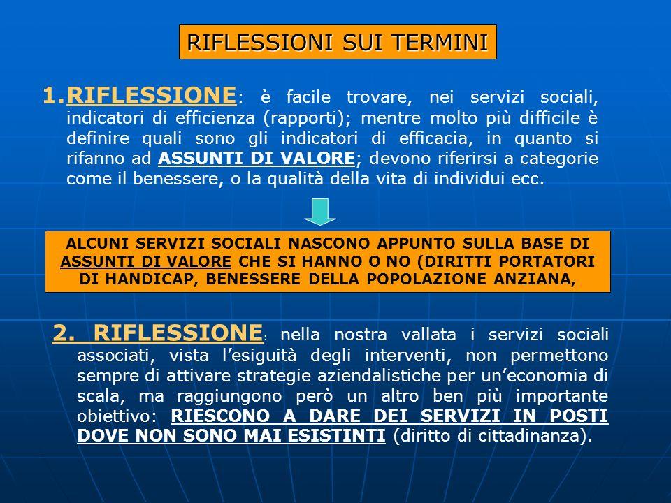 RIFLESSIONI SUI TERMINI 1.RIFLESSIONE : è facile trovare, nei servizi sociali, indicatori di efficienza (rapporti); mentre molto più difficile è defin