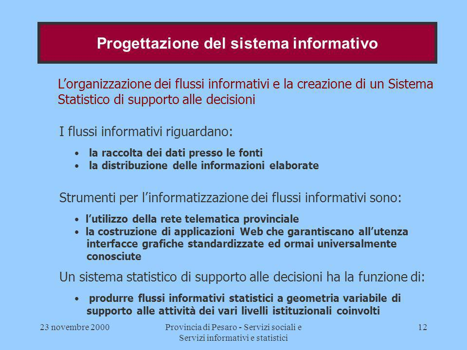 23 novembre 2000Provincia di Pesaro - Servizi sociali e Servizi informativi e statistici 12 Lorganizzazione dei flussi informativi e la creazione di u