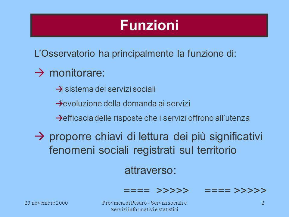 23 novembre 2000Provincia di Pesaro - Servizi sociali e Servizi informativi e statistici 2 Funzioni LOsservatorio ha principalmente la funzione di: àm