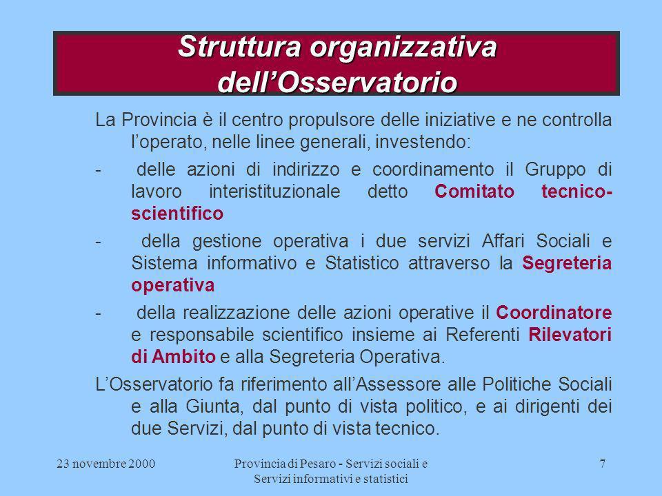 23 novembre 2000Provincia di Pesaro - Servizi sociali e Servizi informativi e statistici 7 La Provincia è il centro propulsore delle iniziative e ne c