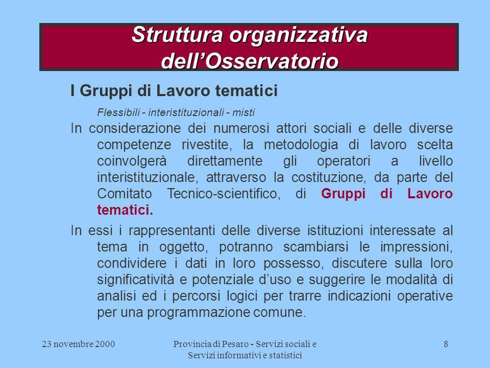 23 novembre 2000Provincia di Pesaro - Servizi sociali e Servizi informativi e statistici 8 I Gruppi di Lavoro tematici Flessibili - interistituzionali