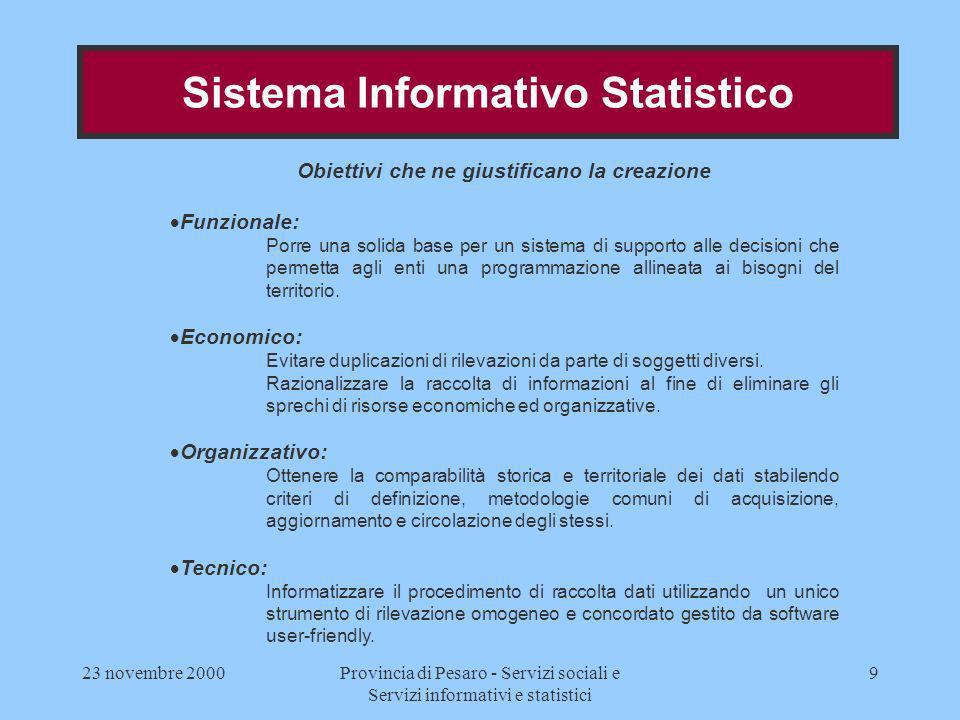 23 novembre 2000Provincia di Pesaro - Servizi sociali e Servizi informativi e statistici 9 Obiettivi che ne giustificano la creazione Funzionale: Porr