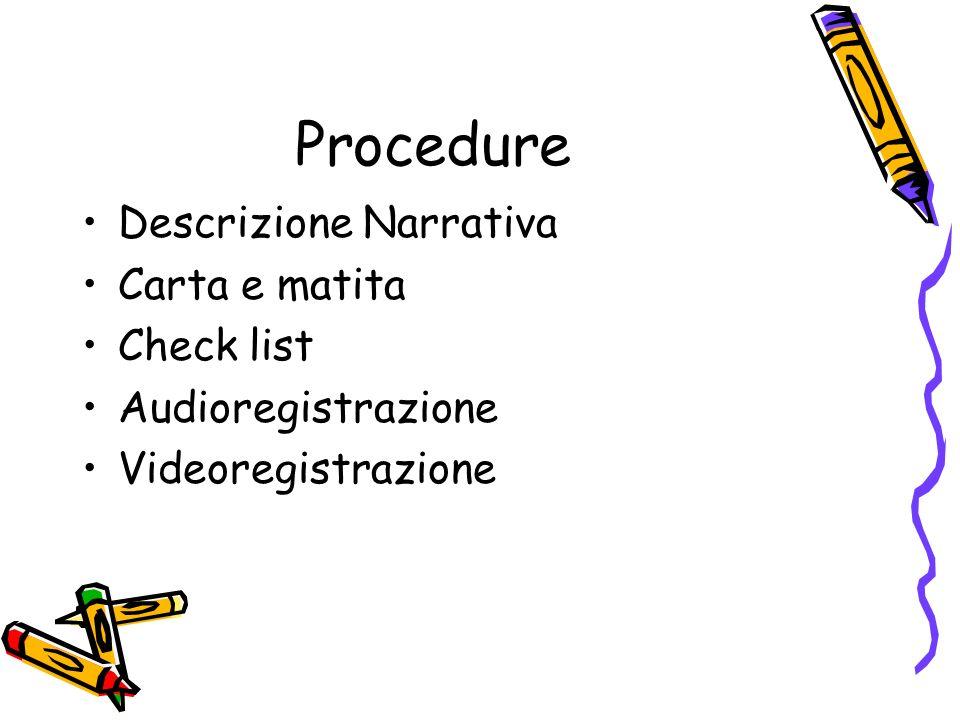 Procedure Descrizione Narrativa Carta e matita Check list Audioregistrazione Videoregistrazione