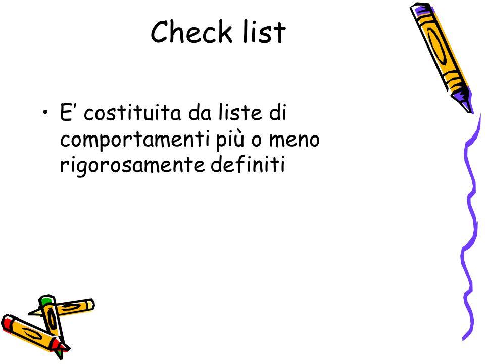Check list E costituita da liste di comportamenti più o meno rigorosamente definiti