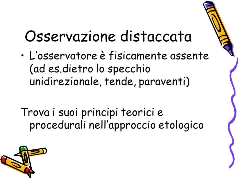 Osservazione distaccata Losservatore è fisicamente assente (ad es.dietro lo specchio unidirezionale, tende, paraventi) Trova i suoi principi teorici e