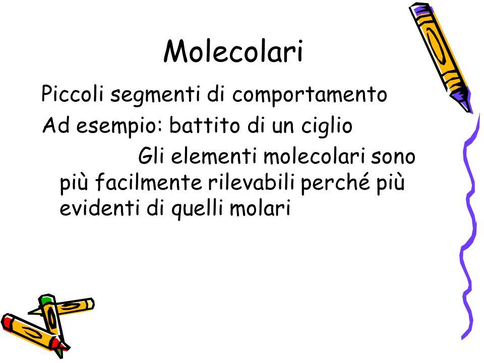 Molecolari Piccoli segmenti di comportamento Ad esempio: battito di un ciglio Gli elementi molecolari sono più facilmente rilevabili perché più eviden