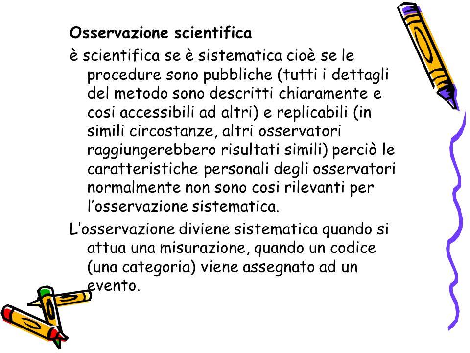 Losservazione scientifica Registrazione sistematica dei comportamenti in corso senza intervenire su di essi per influenzarli (McBurney,1983)