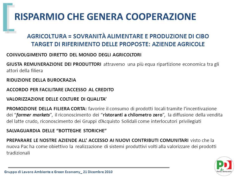 AGRICOLTURA = SOVRANITÀ ALIMENTARE E PRODUZIONE DI CIBO TARGET DI RIFERIMENTO DELLE PROPOSTE: AZIENDE AGRICOLE TUTELA DELLA RISORSA IDRICA TUTELA IDRAULICA DEL TERRITORIO RISPARMIO CHE GENERA COOPERAZIONE Gruppo di Lavoro Ambiente e Green Economy_ 21 Dicembre 2010