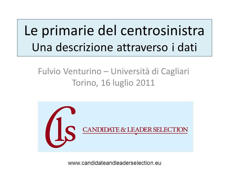 Le primarie del centrosinistra Una descrizione attraverso i dati Fulvio Venturino – Università di Cagliari Torino, 16 luglio 2011 www.candidateandleaderselection.eu