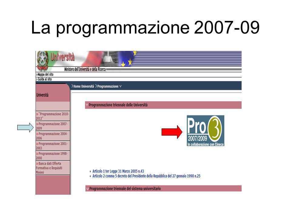 La programmazione 2007-09
