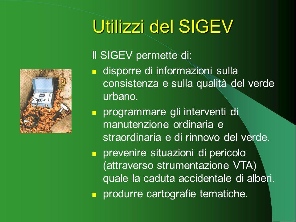 Il SIGEV permette di: disporre di informazioni sulla consistenza e sulla qualità del verde urbano.