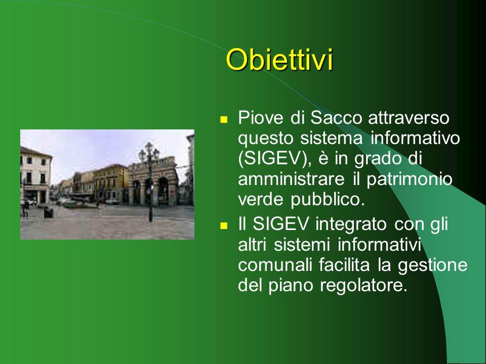 Il SIGEV permette di: disporre di informazioni sulla consistenza e sulla qualità del verde urbano. programmare gli interventi di manutenzione ordinari