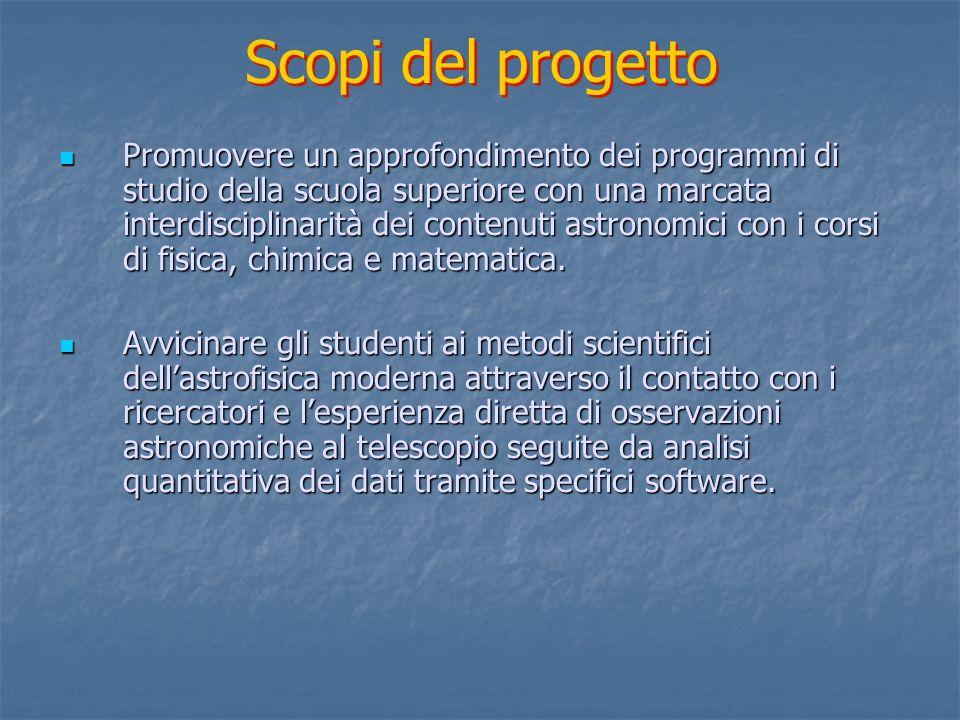 Fornire ai partecipanti una conoscenza pratica generale delluso di strumenti quali spettrografi, camere per immagini, CCD, e delluso di specifico software astronomico e nuovi sistemi operativi.