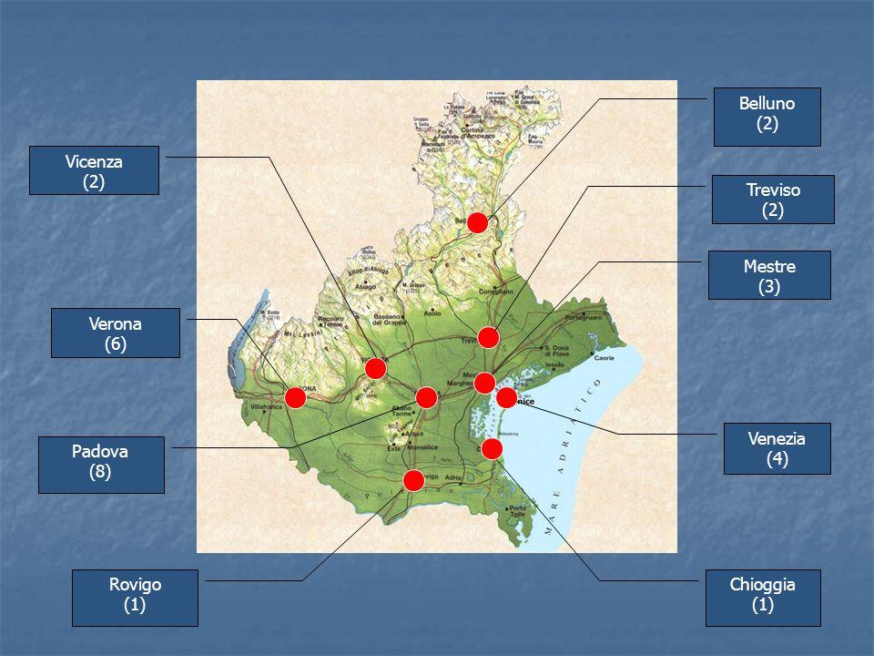 Chioggia (1) Padova (8) Venezia (4) Mestre (3) Belluno (2) Vicenza (2) Verona (6) Rovigo (1) Treviso (2)