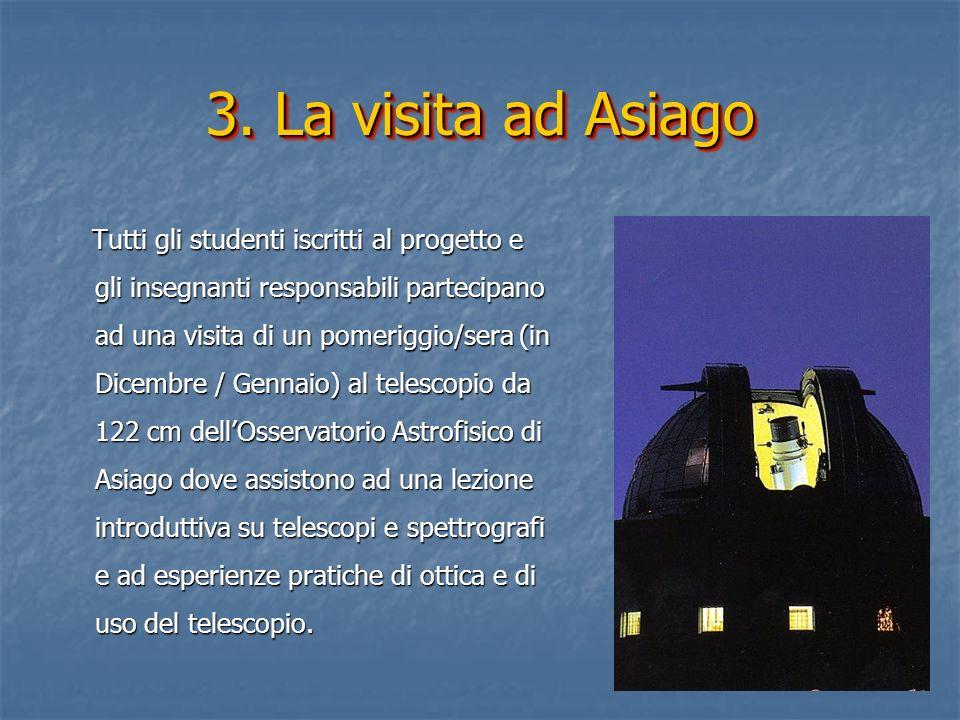 3. La visita ad Asiago Tutti gli studenti iscritti al progetto e gli insegnanti responsabili partecipano ad una visita di un pomeriggio/sera (in Dicem