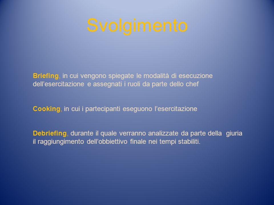 Svolgimento Briefing, in cui vengono spiegate le modalità di esecuzione dellesercitazione e assegnati i ruoli da parte dello chef Cooking, in cui i pa