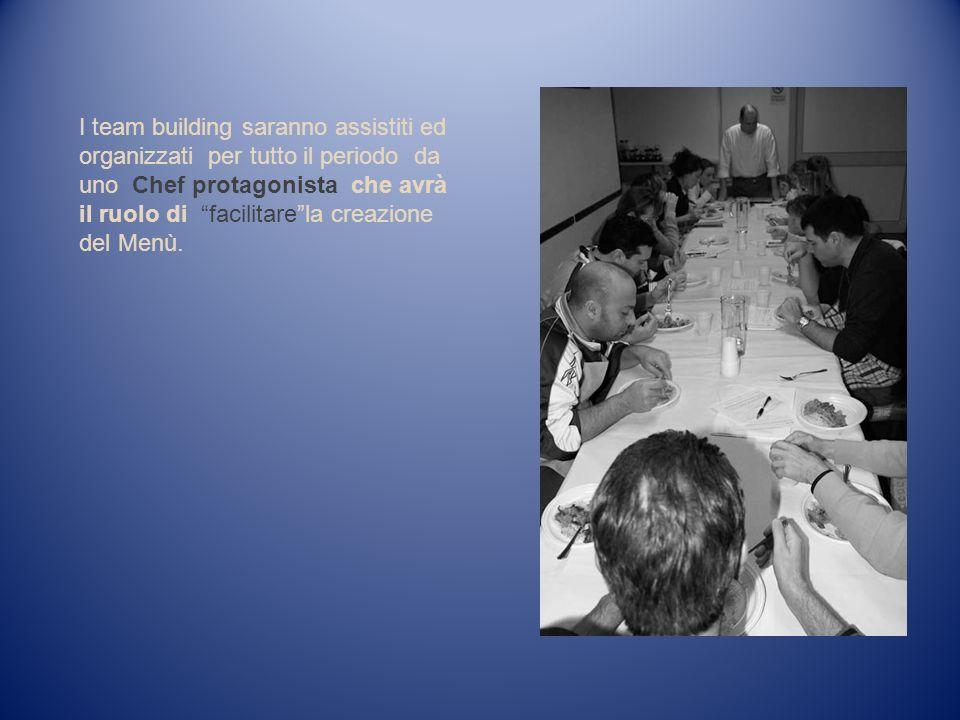 I team building saranno assistiti ed organizzati per tutto il periodo da uno Chef protagonista che avrà il ruolo di facilitarela creazione del Menù.