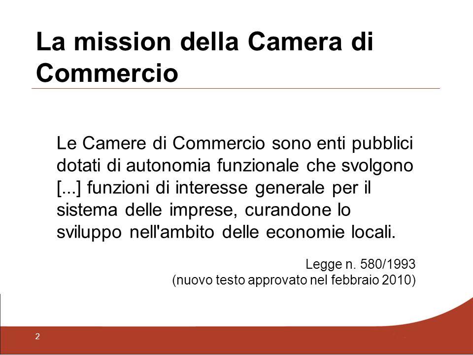 2 La mission della Camera di Commercio Le Camere di Commercio sono enti pubblici dotati di autonomia funzionale che svolgono [...] funzioni di interes