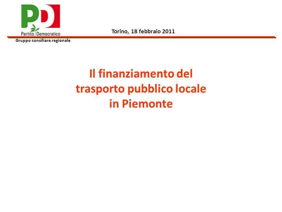 Il finanziamento del trasporto pubblico locale in Piemonte Gruppo consiliare regionale Torino, 18 febbraio 2011