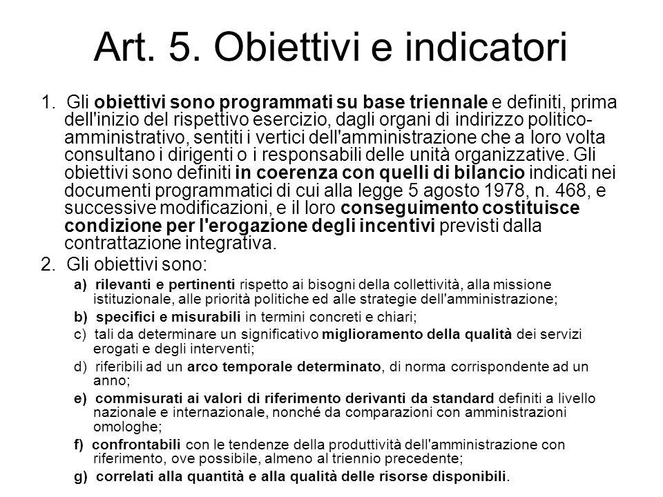 Art. 5. Obiettivi e indicatori 1. Gli obiettivi sono programmati su base triennale e definiti, prima dell'inizio del rispettivo esercizio, dagli organ