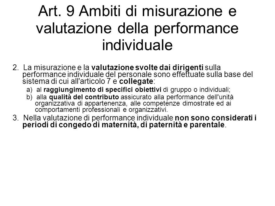 Art. 9 Ambiti di misurazione e valutazione della performance individuale 2. La misurazione e la valutazione svolte dai dirigenti sulla performance ind