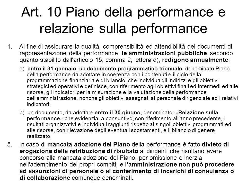 Art. 10 Piano della performance e relazione sulla performance 1. Al fine di assicurare la qualità, comprensibilità ed attendibilità dei documenti di r