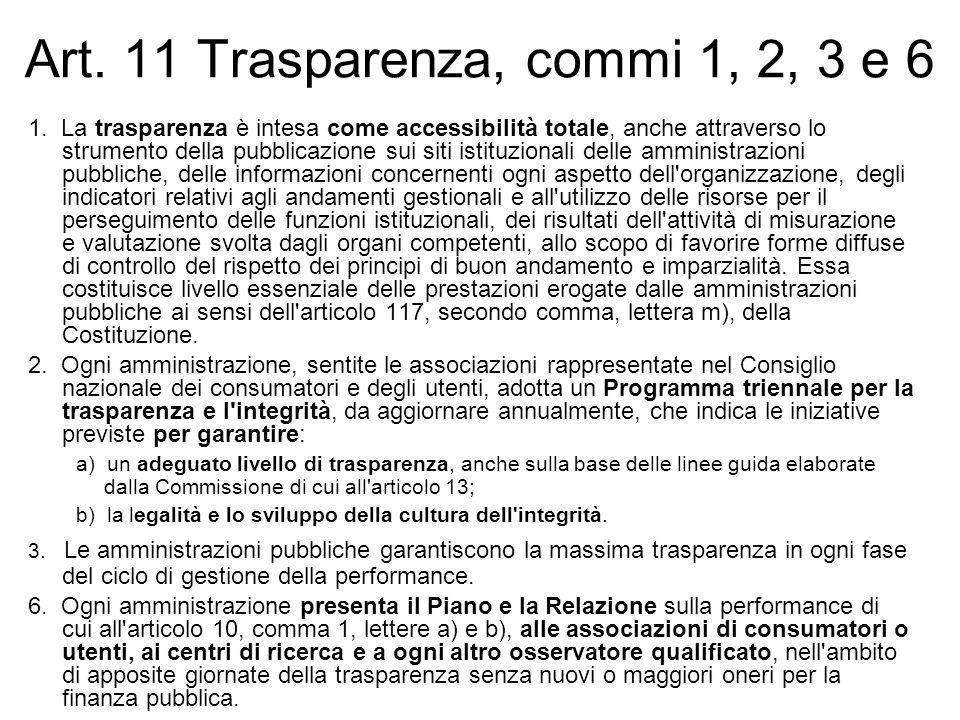 Art. 11 Trasparenza, commi 1, 2, 3 e 6 1. La trasparenza è intesa come accessibilità totale, anche attraverso lo strumento della pubblicazione sui sit