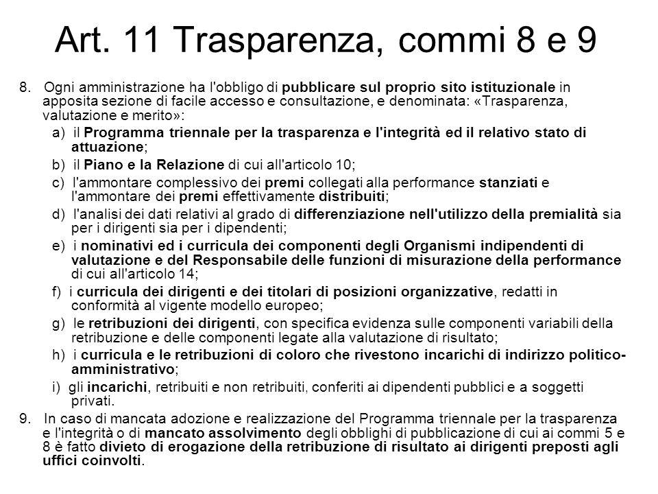 Art. 11 Trasparenza, commi 8 e 9 8. Ogni amministrazione ha l'obbligo di pubblicare sul proprio sito istituzionale in apposita sezione di facile acces