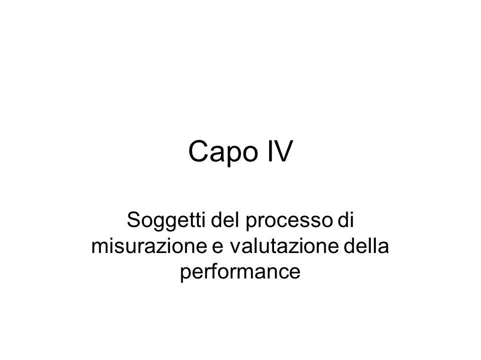 Capo IV Soggetti del processo di misurazione e valutazione della performance