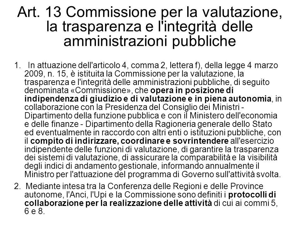 Art. 13 Commissione per la valutazione, la trasparenza e l'integrità delle amministrazioni pubbliche 1. In attuazione dell'articolo 4, comma 2, letter