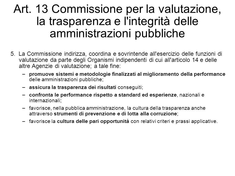 Art. 13 Commissione per la valutazione, la trasparenza e l'integrità delle amministrazioni pubbliche 5. La Commissione indirizza, coordina e sovrinten