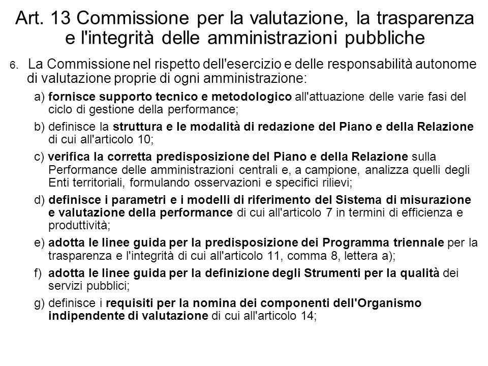 Art. 13 Commissione per la valutazione, la trasparenza e l'integrità delle amministrazioni pubbliche 6. La Commissione nel rispetto dell'esercizio e d