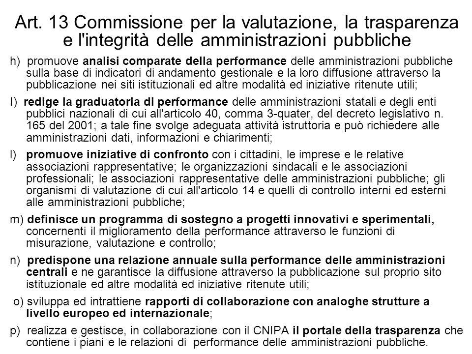 Art. 13 Commissione per la valutazione, la trasparenza e l'integrità delle amministrazioni pubbliche h) promuove analisi comparate della performance d