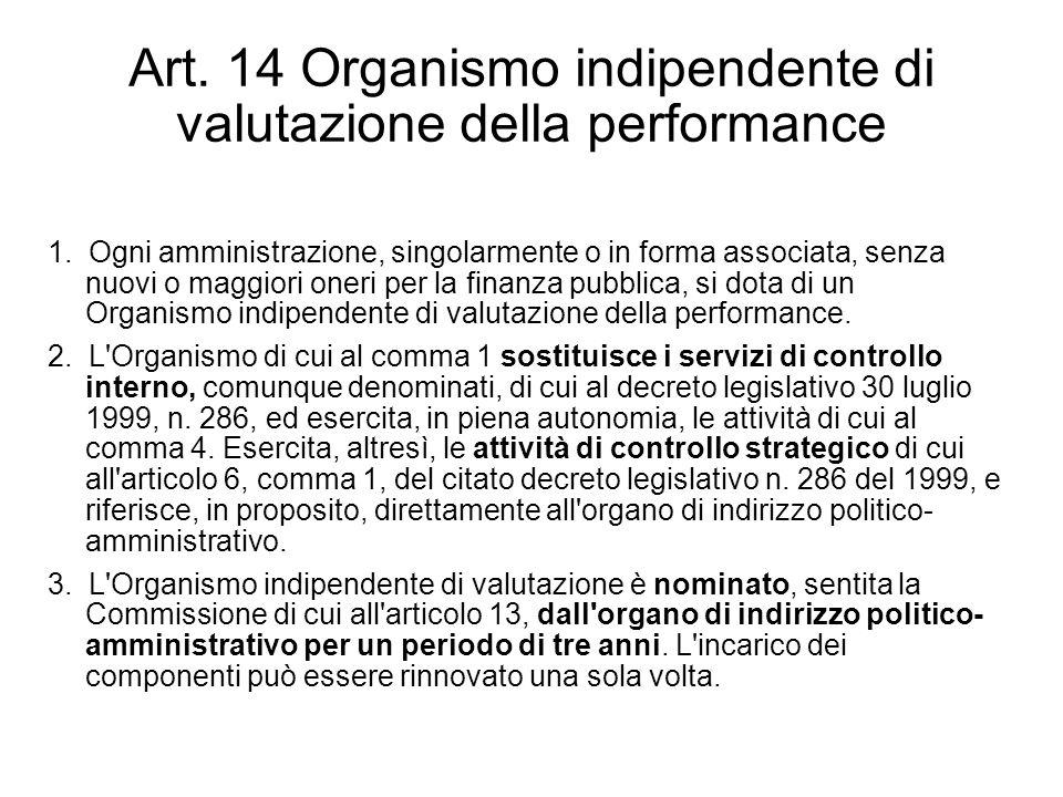 Art. 14 Organismo indipendente di valutazione della performance 1. Ogni amministrazione, singolarmente o in forma associata, senza nuovi o maggiori on