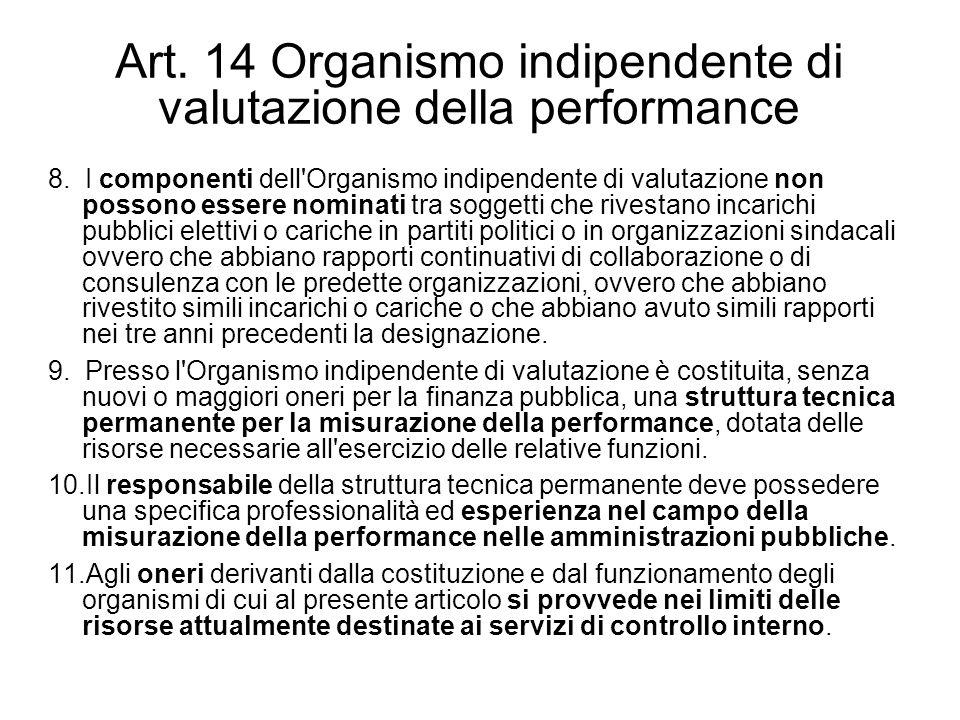 Art. 14 Organismo indipendente di valutazione della performance 8. I componenti dell'Organismo indipendente di valutazione non possono essere nominati