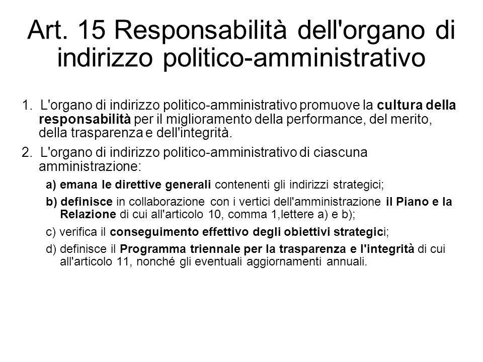 Art. 15 Responsabilità dell'organo di indirizzo politico-amministrativo 1. L'organo di indirizzo politico-amministrativo promuove la cultura della res