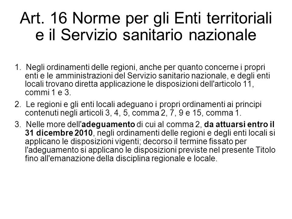 Art. 16 Norme per gli Enti territoriali e il Servizio sanitario nazionale 1. Negli ordinamenti delle regioni, anche per quanto concerne i propri enti