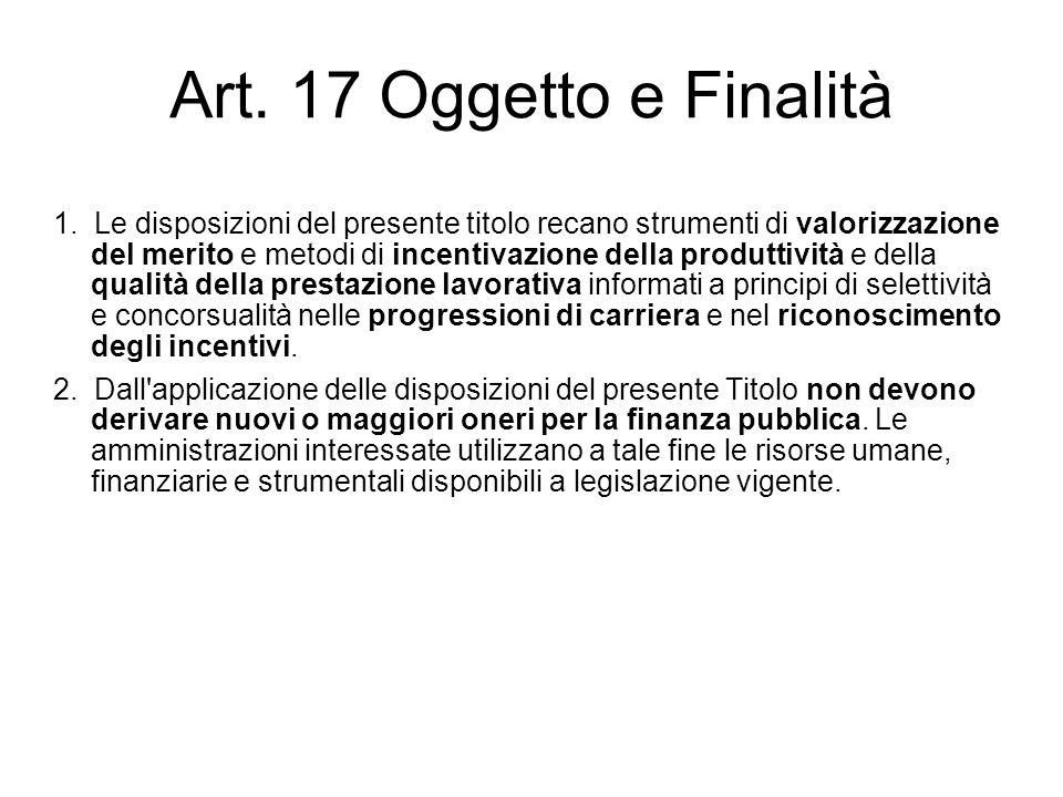 Art. 17 Oggetto e Finalità 1. Le disposizioni del presente titolo recano strumenti di valorizzazione del merito e metodi di incentivazione della produ