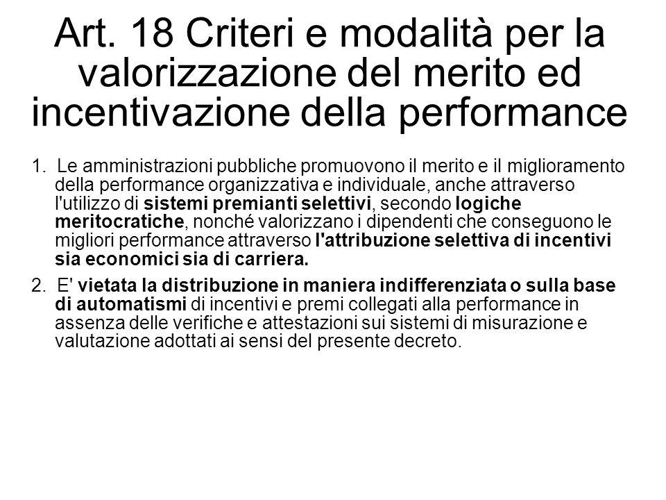 Art. 18 Criteri e modalità per la valorizzazione del merito ed incentivazione della performance 1. Le amministrazioni pubbliche promuovono il merito e